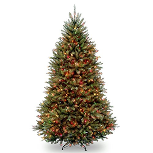 National Tree Company Pre-lit Artificial Christmas Tree | Includes Pre-strung Multi-Color Lights and Stand | Dunhill Fir - 7 ft