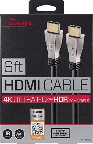 Rocketfish 6ft HDMI High Speed 4K UltraHD/HDR Compatible Cable Black RF-HG06501