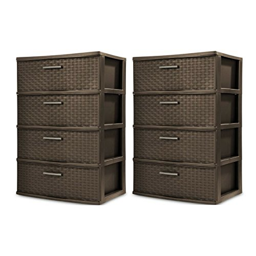 STERILITE 4 Drawer Wide Weave Tower, Espresso - 2 Pack