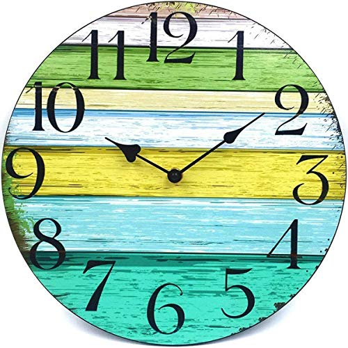 12' Silent Wall Clock Battery Operated Non-Ticking, Vintage Wood Wall Clocks Large Decorative for Kitchen Home Office Wall Decor, Frameless Retro Kitchen Wall Clock School Bathroom Living Room