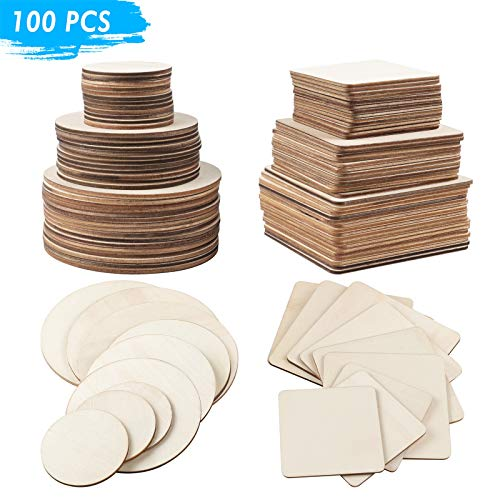 Unfinished Wood for Crafts and Arts, Blank Square & Round Wood Plaques for DIY, Natural Wooden Pieces for Coaster, Scrabble Tiles, Painting, Carving, Ornaments (100 PCS)