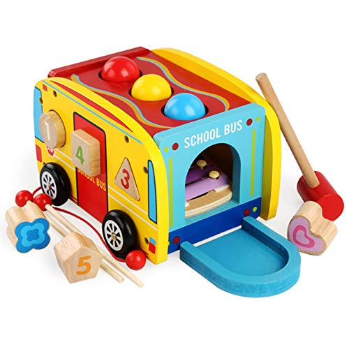 cfmour Hammering Pounding Wooden Toys, Xylophone Shape Sorter Montessori Educational Learning Musical Bench Bus Pull Toy for 1 2 3 Year Old Boys Girls, First Birthday Gifts for Baby Toddlers Kids