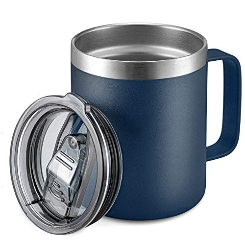 12oz Stainless Steel Insulated Coffee Mug with Handle, Double Wall Vacuum Travel Mug, Tumbler Cup with Sliding Lid, Navy