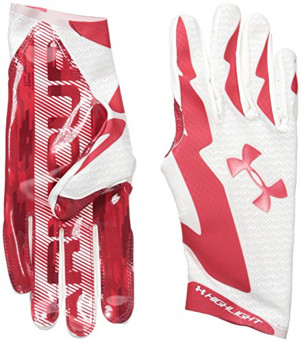 Under Armour Men's Highlight Football Receiver Gloves, White/Red, X-Large