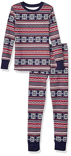 Amazon Essentials Kids Boys Snug-Fit Cotton Pajamas Sleepwear Sets, 2-Piece Navy Fairisle Set, Medium