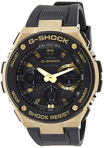 Casio G-Shock G-STEEL Series Solar Powered World Time Analog Digital Gold Black Resin Watch, GSTS100G-1A