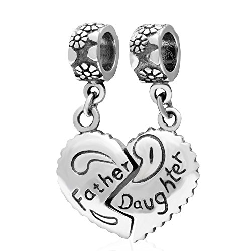PHOCKSIN Father Daughter 925 Sterling Silver Charms Pendant for Bracelets Necklaces Dad Jewelry from Girl