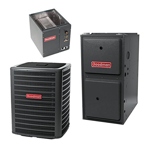 3 Ton Goodman 14 SEER R410A 96% AFUE 80,000 BTU Vertical Gas Furnace Split System