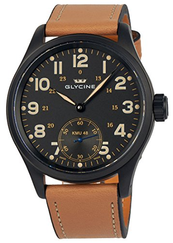 Glycine KMU 48 Kriegs Marine Uhren Manual Wind Black PVD Mens Watch 3906.99AT LB33