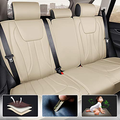 All Weather Custom Fit Seat Covers for Hyundai Ioniq Plug-in Hybrid 5-Seat Full Protection Waterproof Car Seat Covers Beige Full Set