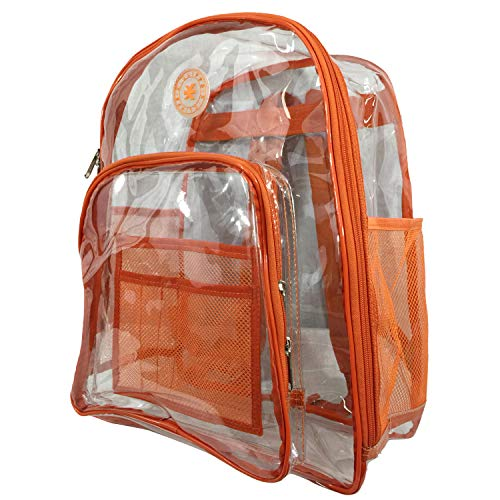 Heavy Duty Clear Backpack See Through PVC Stadium Security Transparent Workbag | Orange