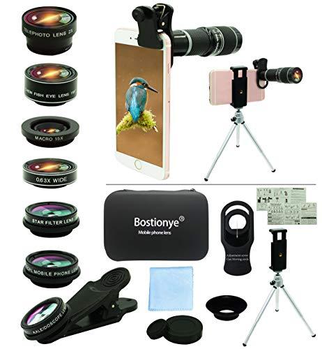 Cell Phone Camera Lens Kit,11 in 1 Universal 20x Telephoto Lens,0.63Wide Angle+15X Macro+198°Fisheye+2X Telephoto+Kaleidoscope+CPL/Starlight/Eyemask/Tripod,for Most iPhone Smartphone (Black)