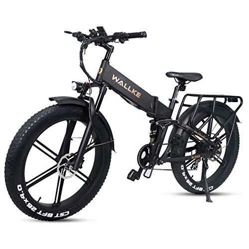 W Wallke X2 PRO 26 inch Full Suspension Adult Fat tire Folding Electric Bicycle 750W Mountain ebike 11.6AH Removable Samsung Lithium Battery Magnesium Alloy 12 Spokes Integrated Wheel… (Black)