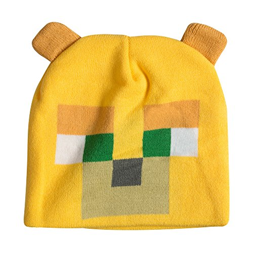 JINX Minecraft Ocelot Face Knit Beanie with Ears, Yellow, One Size