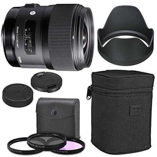 Sigma 35mm f/1.4 DG HSM Art Lens for Nikon DSLR Cameras + AOM Starter Kit, Sigma Case, Hood, Ultraviolet Filter (UV) Polarizing Filter (CPL) Fluorescent Daylight Filter (FL-D) - International Version