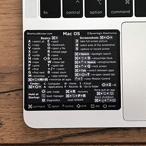 SYNERLOGIC Mac OS Big Sur/Catalina/Mojave/etc. Reference Keyboard Shortcut Sticker v2.0 Premium Black Matte Vinyl, Temporary Adhesive, 3.25'x2.75'- for Intel MacBook Air/Pro, iMac/Mac Mini