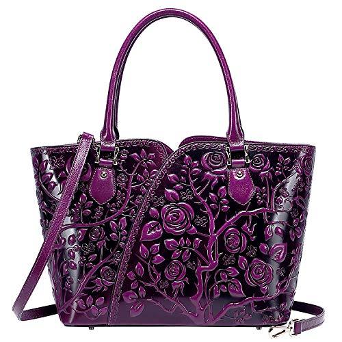 PIJUSHI Designer Handbags For Women Floral Purses Top Handle Handbags Satchel Bags (22328 violet)
