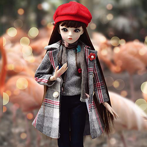 UCanaan BJD Dolls 1/3 SD Fashion Dolls 24 Inch 18 Ball Jointed Doll DIY Toys with Full Set Clothes Shoes Wig Makeup, Best Gift for Girls-Felice