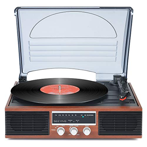 Record Player Bluetooth Turntable with Stereo Speakers Portable Belt-Driven 3-Speed LP Vinyl Record Player FM Stereo Radio Vintage Vinyl Player