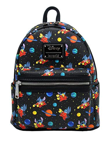 Loungefly x Disney Stitch in Space Allover-Print Mini Backpack (One Size, Black Multi)
