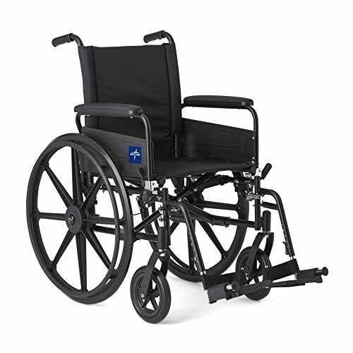 Medline Premium Ultra-lightweight Wheelchair with Full-Length Arms and Swing-Away Leg Rests for Easy Transfers, 18' Seat