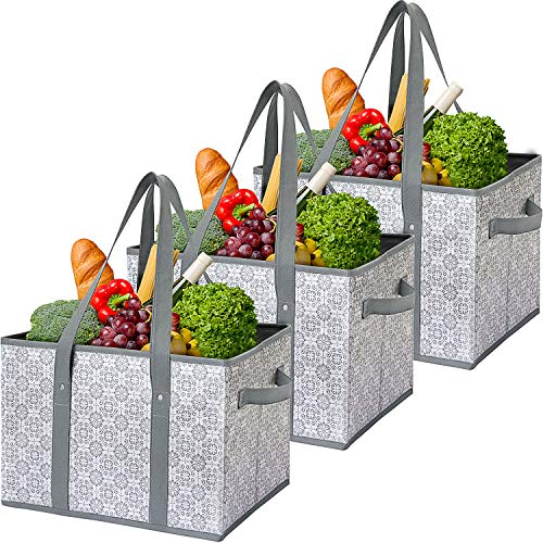 WiseLife Reusable Grocery Bags Storage Baskets Shopping Bags [3 Pack],Water Resistant Foldable Collapsible Large Storage Bins Tote Bags Cube Box for Clothes,Toys,Shoes and Picnic(FG)