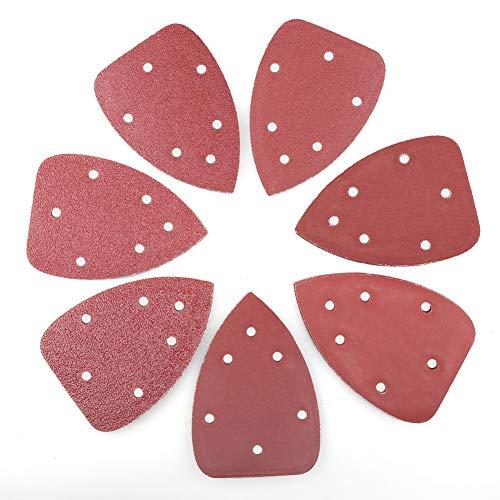 LotFancy 70PCS Detail Sander Sandpaper, Assorted 40 60 80 120 180 240 320 Grit Sanding Pads Sheets, 6 Holes, 140mm, Hook and Loop Backing