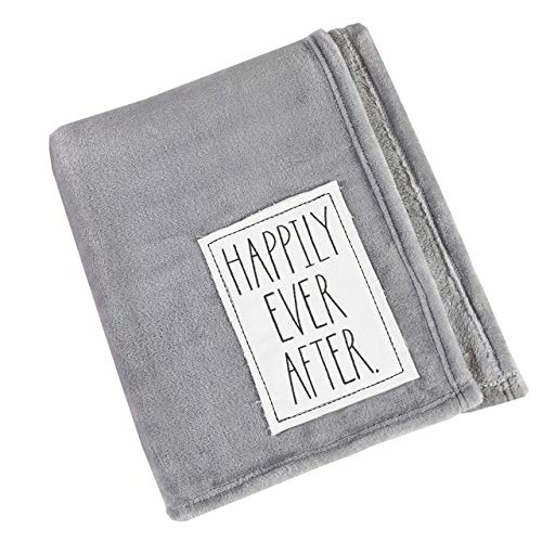 """Rae Dunn 50' x 60"""" Plush Throw Blanket with Happily Ever After. Embroidered Sentiment Patch, Grey Comforter (Happily Ever After.)"""