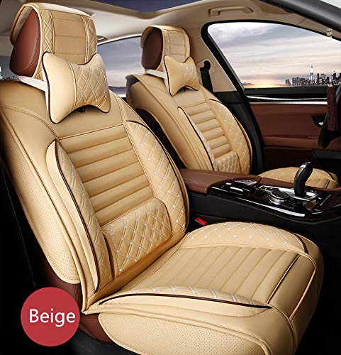 All Weather Custom Fit Seat Covers for Honda Clarity Plug-in Hybrid 5-Seat with Headrest and Lumbar Cushion Luxury Package Beige Full Set