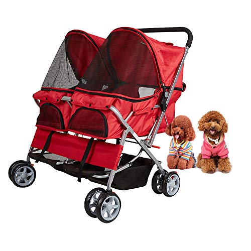 Dporticus 4 Wheel Pet Stroller Foldable Two-Seater Carrier Strolling Cart for Dog、 Cat and More Multiple Colors