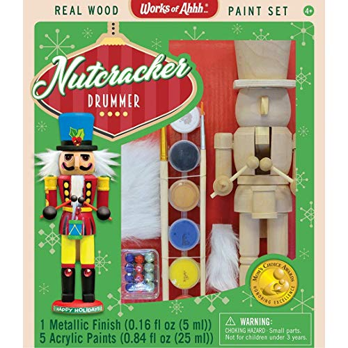MasterPieces Works of Ahhh Christmas Real Wood Large Acrylic Paint Kits, Nutcracker Drummer, for Ages 4+
