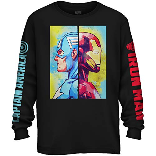 Marvel Avengers Captain America Iron Man Civil War Avengers Long Sleeve Adult T-Shirt(Black,Small)