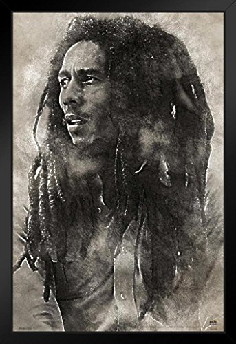 Pyramid America Bob Marley Conquering Lion Music Black Wood Framed Art Poster 14x20