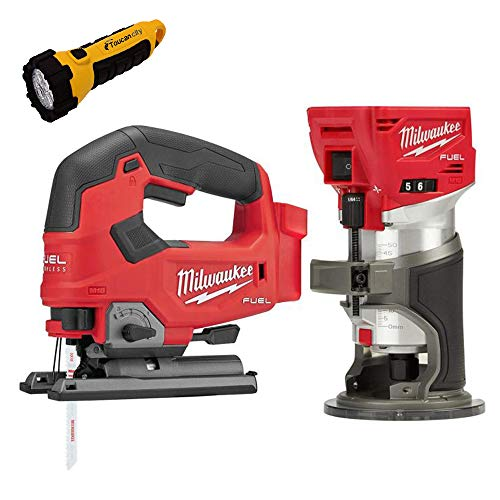 Toucan City LED Flashlight and Milwaukee M18 FUEL 18-Volt Lithium-Ion Brushless Cordless Compact Router and Jig Saw 2-Tool Set (Tool-Only) 2723-20-2737-20