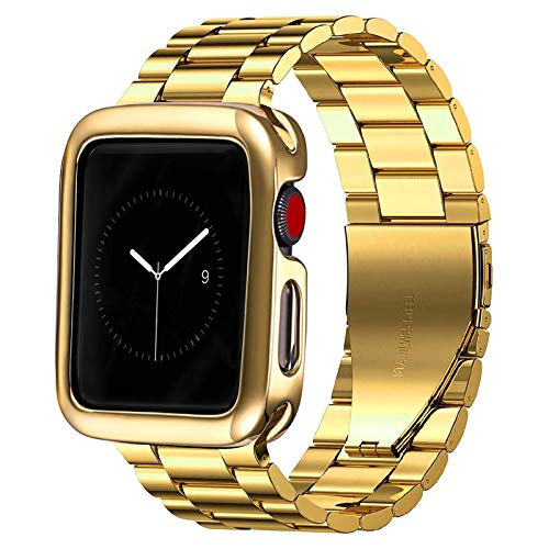 PUGO TOP Band Compatible with iwatch 44mm Series 6 5 4 Iwatch iPhone Watch Link Band 42mm Series 3/2/1/SE for Men(Gold, 42mm/44mm)(Case not included)