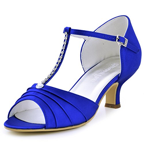 ElegantPark EL-035 Wedding Sandals for Bride Peep Toe Mid Heels Bridal Wedding Shoes T-Strap Rhinestones Satin Evening Party Prom Dress Shoes Blue US 8
