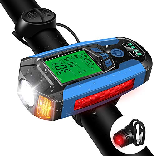 Bike Light Set with Bike Speedometer, Bicycle Headlight Taillight,USB Rechargeable Bicycle Computer with Loud Bike Bell, 5 Lighting Modes Flashlight Hiking Camping All Mountain & Road Cycling (Blue)