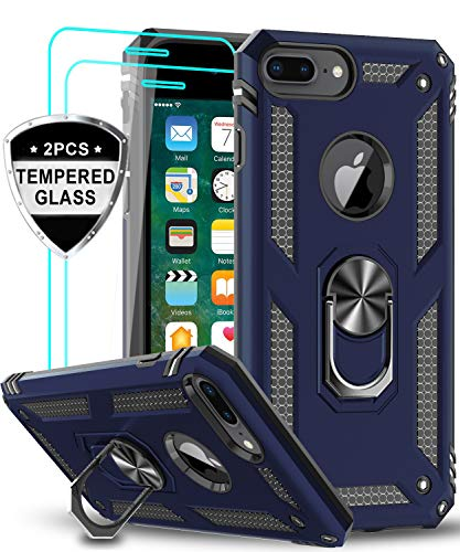 LeYi iPhone 8 Plus Case, iPhone 7 Plus Case, iPhone 6 Plus Case with Tempered Glass Screen Protector [2Pack], Military Grade Phone Case with Rotating Holder Kickstand for Apple iPhone 6s Plus, Blue