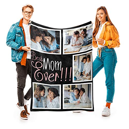 Best Mom Ever Custom Blanket with 5 Photos Personalized Picture Blanket Customized Gifts for Mom Grandma for Birthday Mother's Day, 24 Colors Available, 40'x50'