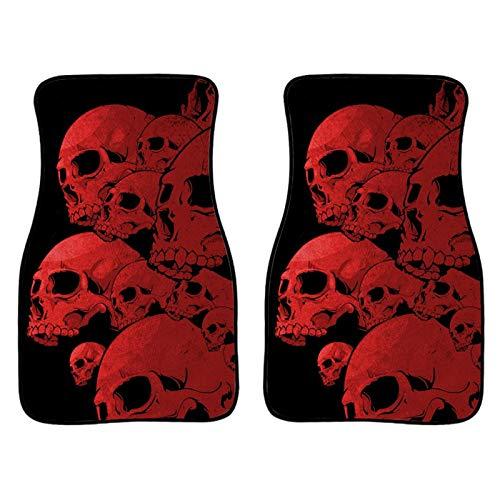 Howilath Gothic Skull Red 2 Pieces Set Car Floor Mats, Non Slip Flannel Foot Carpet Best Gift