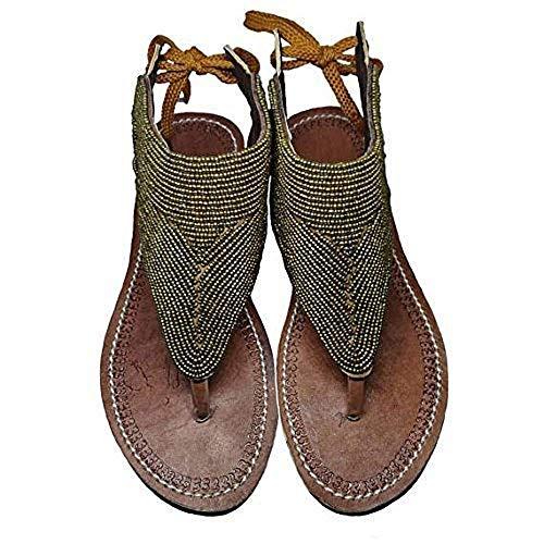 GlobalHandmade Reef Sandy Gold Sandal Shoes for Women - Handmade Summer Gold Reef Flip Flops for Women
