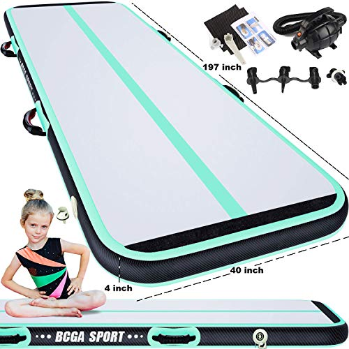 16.5ft Inflatable Gymnastics Air Track Tumbling Mat 8in Thickness Yoga Floor Cheerleading Taekwondo Training Kungfu Exercise Mats with Electric Air Pump for Home Gym Beach Park and Water Use