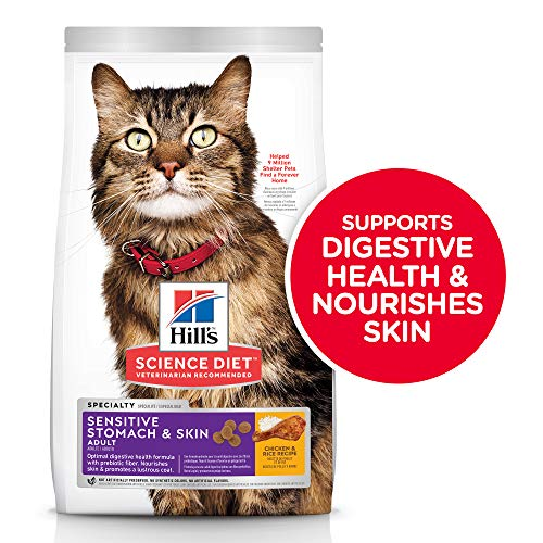 Hill's Science Diet Dry Cat Food, Adult, Sensitive Stomach & Skin, Chicken & Rice Recipe, 7 lb Bag