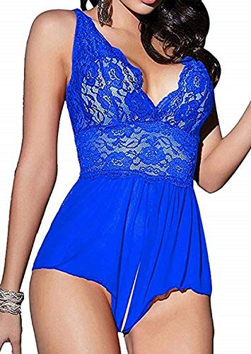 Yinggeli Womens Plus Size Lingerie V Neck Lace Sexy Babydoll Sleepwear S-3XL (Blue,XXX-Large)