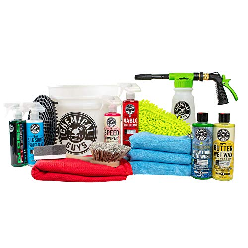 Chemical Guys HOL148 16-Piece Arsenal Builder Car Wash Kit with Foam Gun, Bucket and (6) 16 oz Car Care Cleaning Chemicals (Works w/Garden Hose)