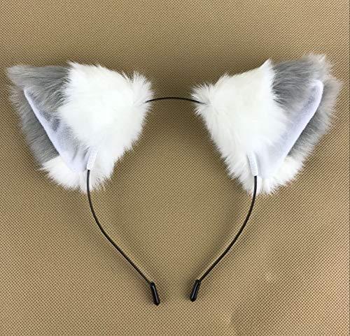 Happylifehere Long Fur Cat Fox Ears Headband Hairband Lolita Cosplay Costume Halloween Kitty Fancy Dress Gray with White