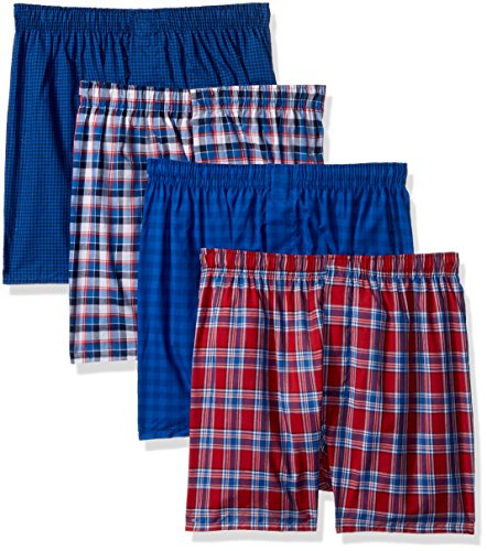 Hanes Men's 4-Pack ComfortBlend Woven Boxers with FreshIQ, Assorted, X-Large