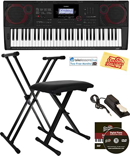 Casio CT-X3000 Keyboard Bundle with Adjustable Stand, Bench, Sustain Pedal, Online Lessons, Austin Bazaar Instructional DVD, and Polishing Cloth