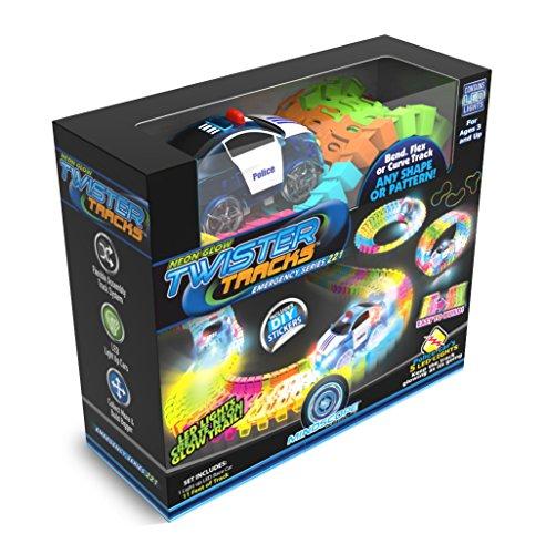 Mindscope Twister Tracks Neon Glow in The Dark 221 Piece (11 feet) of Flexible Assembly Track Emergency Series
