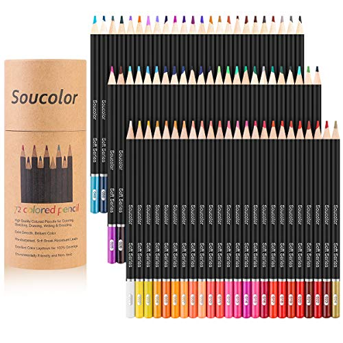 Soucolor 72-Color Colored Pencils for Adult Coloring Books, Soft Core, Artist Sketching Drawing Pencils Art Craft Supplies, Coloring Pencils Set Gift for Adults Kids Beginners